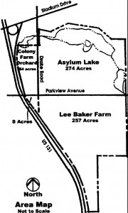 The Colony Farm Orchard is at the upper left in this diagrammatic map which appears on the Asylum Lake website