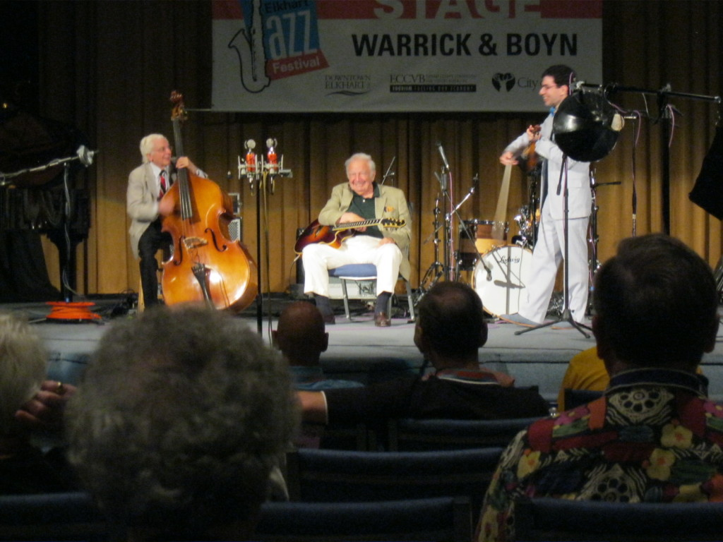 The Bucky Pizzarelli Trio at the Elkhart Jazz Festival, 26 June 2011.  Photograph by Richard Brewer